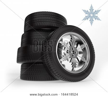 set winter tire on the rim in the form of snowflakes on white background, 3d illustration
