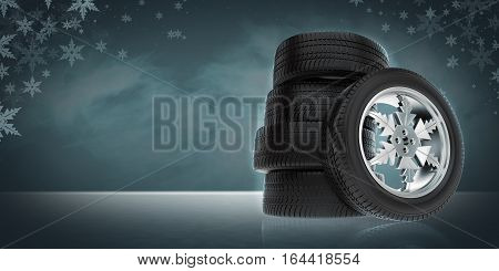 background with winter tire on the rim in the form of snowflakes, 3d illustration