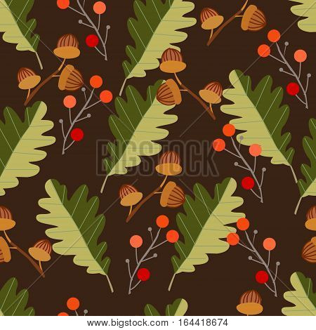 Seamless pattern with acorns and autumn oak leaves in orange beige brown and yellow. Ideal for Wallpaper gift paper pattern fills background of web pages autumn greeting cards.