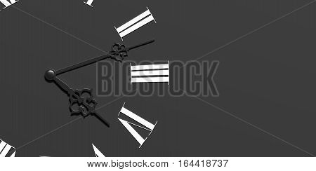3d rendering of a face of clock on dark gray colored background