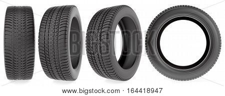 Winter tires in different angles isolated on the white background, 3d illustration