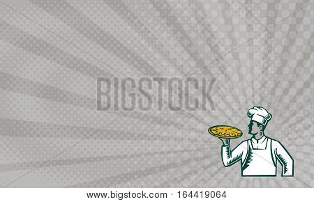 Business card showing Illustration of a pizza chef baker holding pizza looking to the side set on isolated white background done in retro woodcut style.