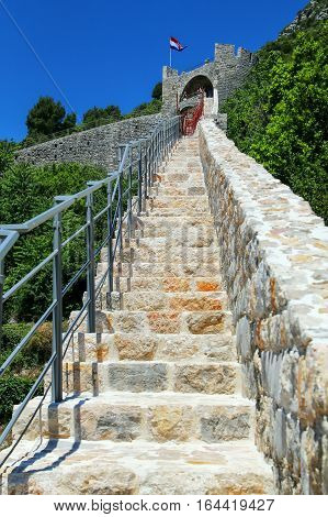 Defensive Walls Of Ston Town, Peljesac Peninsula, Croatia