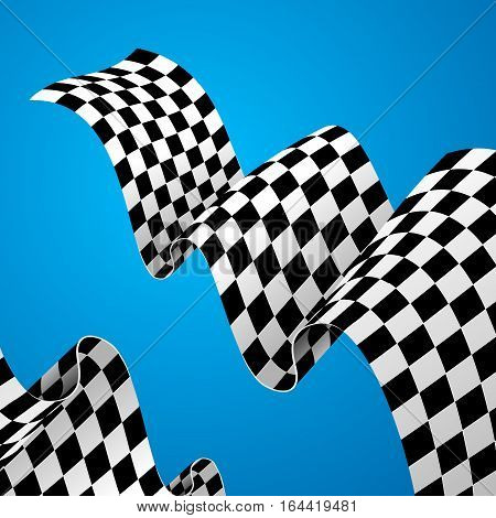 Checkered Racing Flag Background on a Blue for Web Design. Vector illustration