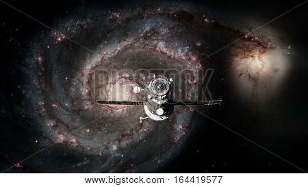 Spacecraft Progress orbiting the galaxy. Elements of this image furnished by NASA.