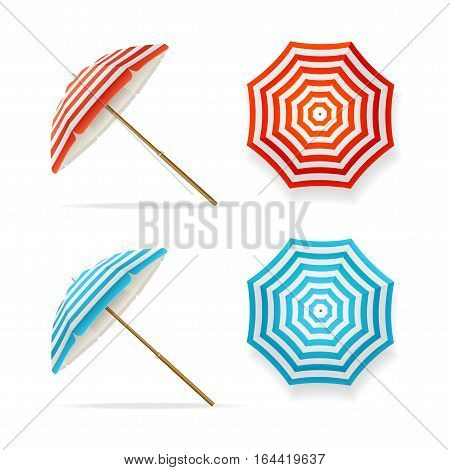 Sun Umbrella Set Striped Beach Parasols Top View and Side. Symbol of Summer Tourism Vector illustration