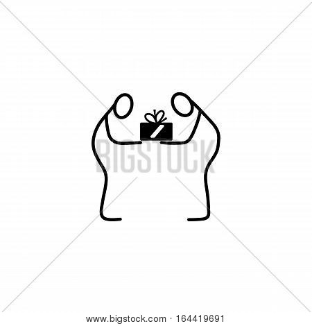 Man giving a present stick figures icon over white background, vector illustration
