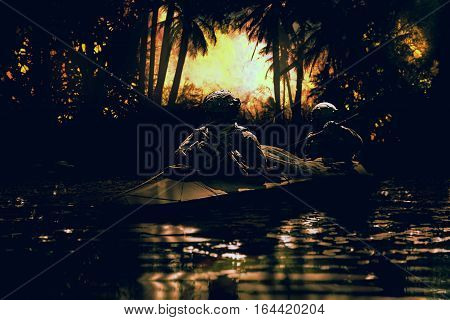 Two special forces operators paddling in the military kayak in the jungle at dawn without drawing attention. Diversionary operation ahead