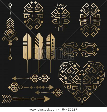 Tribal aztec vector gold stencil elements on black. Tribal arrows, feathers and heart graphic illustration.