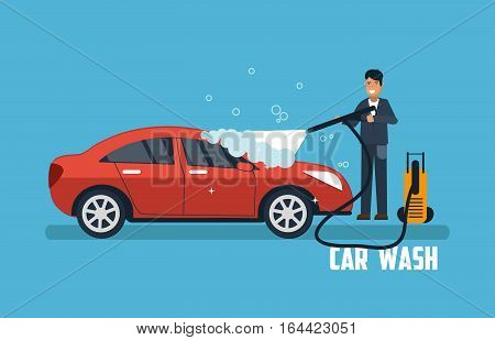 Car wash banner. Man washing car vector illustration. Car wash concept with sport red car.