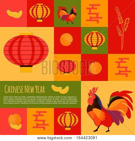 Chinese new year icons and buttons set. Rooster concept icons for new year 2017 adverisement. Vector icons of rooster mandarin chinese lantern.
