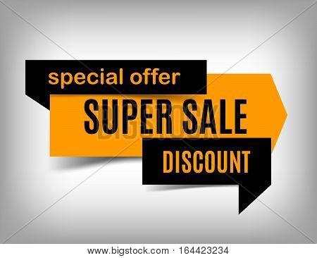 Sale banner design. Orange trendy discount poster special offer. Vector illustration eps 10