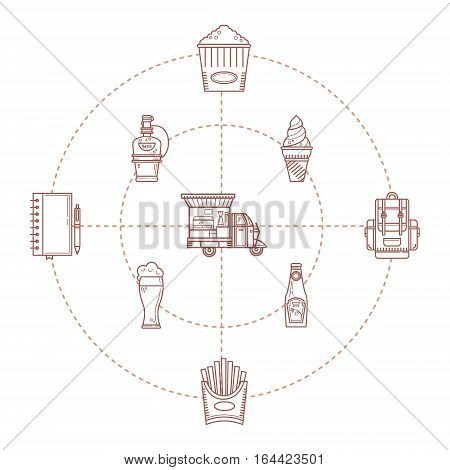 Set of linear icons food truck. The concept of fast food, fast food, street food. Hamburger. coffee, ice cream. It can be used as elements of design cards, invitations, printing, packaging.