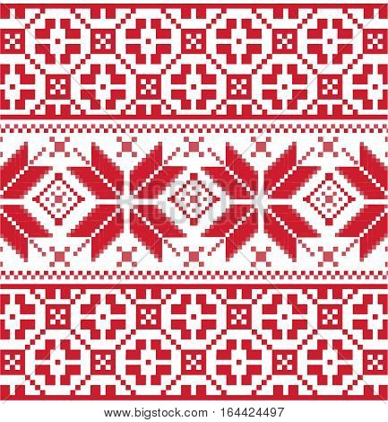 Winter seamless pixel pattern. Pastiche Scandinavian embroidery ornament. Knitted Christmas ornament.