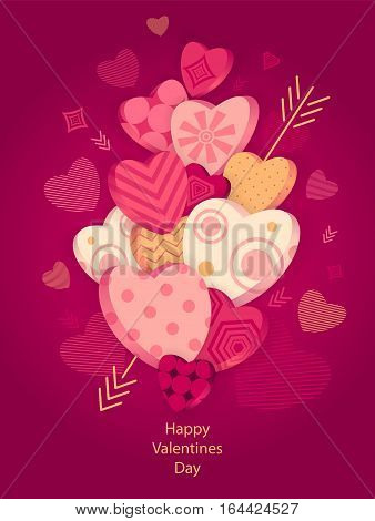Textured Hearts with 3D effect and arrow on dark pink for Poster or for Creative Post Card from Happy Valentines Day or for  package or  for web banners of congratulation or flyer for party