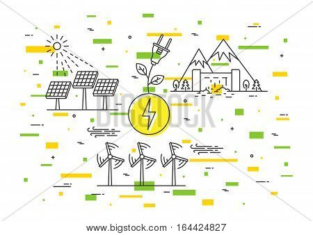 Alternative energy sources vector illustration. Wind electricity air turbine solar panel sun electric station hydro electrostation elements.
