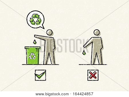 Man drops garbage vector illustration. Silhouettes of a man who throws garbage in a bin and on the ground graphic design. No littering signs creative concept.