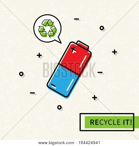 Battery recycling vector illustration. Battery with recycle symbol creative concept.