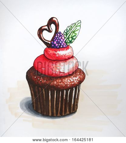 Raster illustration of Cupcake with berry and biscuits. Hand-drawn picture. Watercolor sketch of a cream cake with biscuits decoration.
