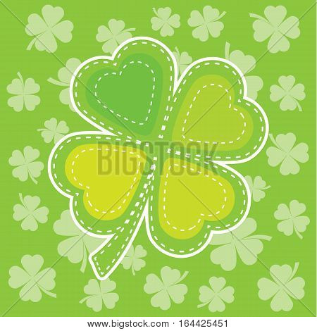 St. Patrick's Day illustration with colorful shamrock leaves suitable for St. Patrick's Day greeting card, invitation card, and wallpaper
