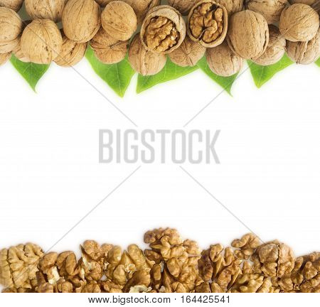 Walnuts background. Walnuts with leaves at border of image with copy space for text. Kernels walnuts on a white background. Top view. Vegetarian or healthy eating.