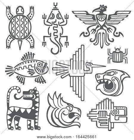 Historic aztec, inca vector symbols, mayan temple pattern, native american culture signs. Tattoo ancient tribes in form of abstract animals illustration