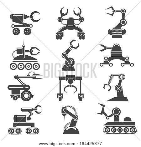 Robot arms icons. Technology factory robot manufacturing elements. Vector illustration