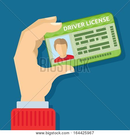 Hand holding id card, car driving licence vector illustration. Driver with license to driving car