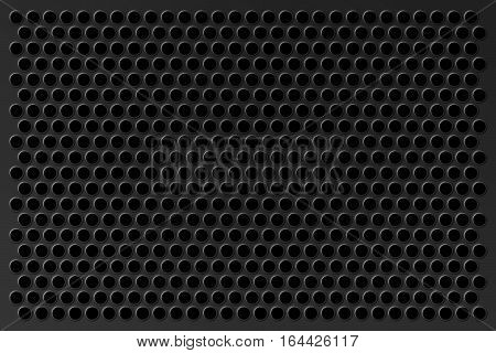 Perforated background. Metal bar with round pressed holes as an element of techno design.