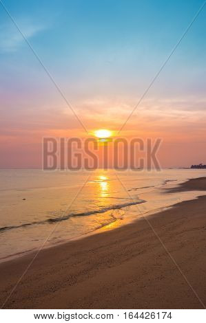 Sai Thong Beach With Sunset, Rayong, Thailand