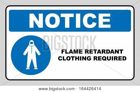 Flame retardant clothing required sign. Firefighter costume icon, isolated on white background. Clothing symbol. Vector Information mandatory symbol in blue circle isolated on white. Notice label