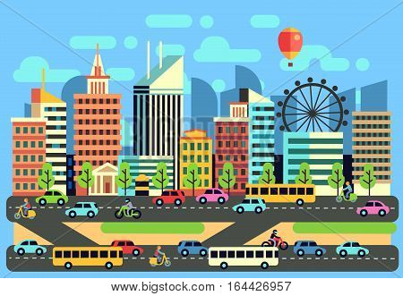 Urban, city traffic landscape with moving passenger transport vehicles, cars, scooter, motorcycle on highway. Transport traffic in city. Vector illustration