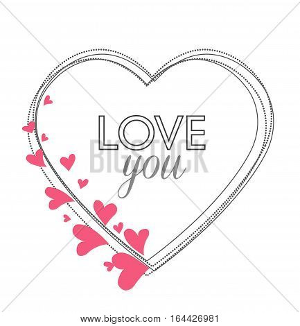 Vector Decoration heart, romantic valentine hearts with place for text