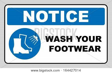 Footwear wash sign. Information mandatory symbol in blue circle isolated on white. Vector illustration. Notice label