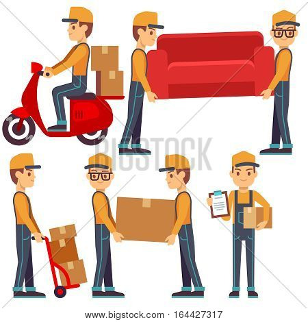 Man carrying boxes, delivery service people vector set. Man courier with package, courier transportation container or sofa illustration