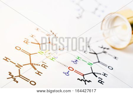 Laboratory glass Pipette on Chemical formula paper.