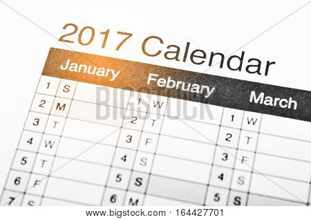 The 2017 wording on 2017 calendar page.