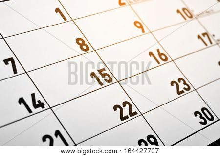 The Closeup of numbers on calendar page
