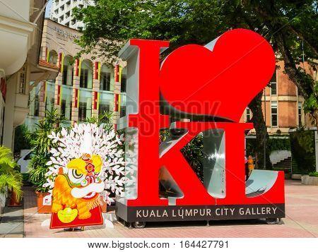 KUALA LUMPUR, MALAYSIA - JANUARY 14, 2014: Sign I Love KL on the city street. Kuala Lumpur, Malaysia