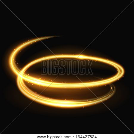 Magic light spiral glitz and glamour vector effect on black background. Motion glowing spiral, illustration of twinkle spiral trail