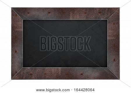 Rusty steel frame black board, isolated on white background