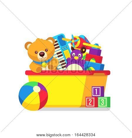 Kids toys in kids box vector clipart. Cartoon kids toys in box castle and teddy bear illustration