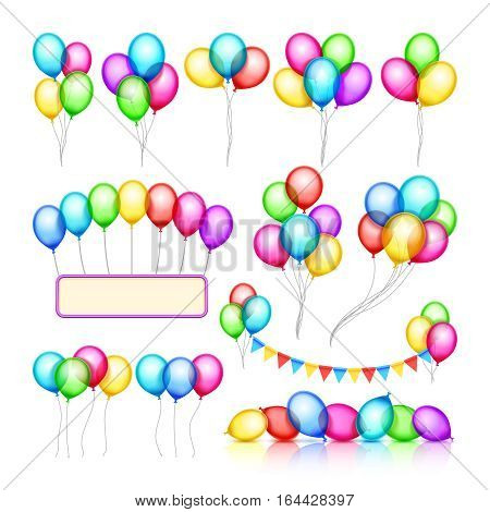 Glossy celebration party balloon groups of decorations vector set. Color air balloon for holiday birthday event, illustration of helium balloon
