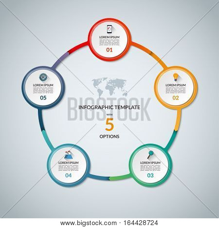 Infographic circle with 5 options. Round chart for business infographics with the set of flat icons and design elements. Can be used for web, diagram, chart, graph, report, step options.