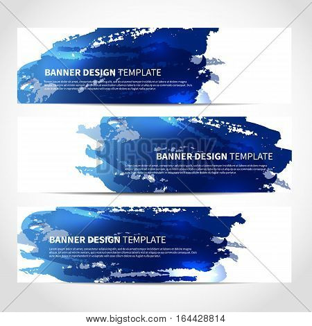 Set of trendy blue banners template or website headers with watercolor imitation background. Advertising banners with blue ink spots. Design for Christmas cards, header, background