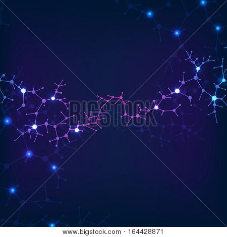 Abstract healthcare background with atom, molecule structure, structural biology elements. Neural structure of atoms and molecules. Vector illustration