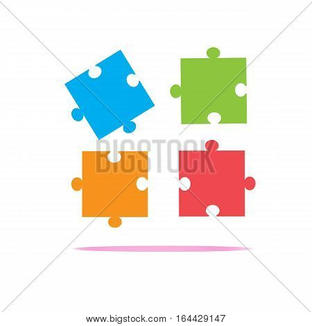 colorfull puzzles piece icon on white background. puzzles piece sign. flat design style.
