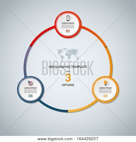 Infographic circle with 3 options. Round chart for business infographics with the set of flat icons and design elements. Can be used for web, diagram, chart, graph, report, step options.