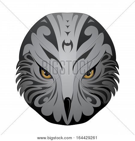 Eagle head as ethnic tattoo shape isolated on white