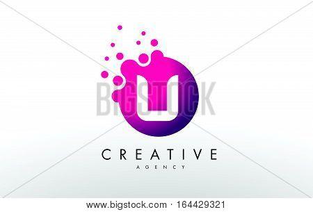 Dots Letter U Logo. U Letter Design Vector with Dots.